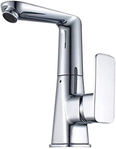 Grifo moderno de 360 ° de plata brillante de níquel cromado, filtro de seis capas, grifo mezclador de agua fría y caliente de una manija, instalación de cubierta de fregadero de cocina / lavabo para