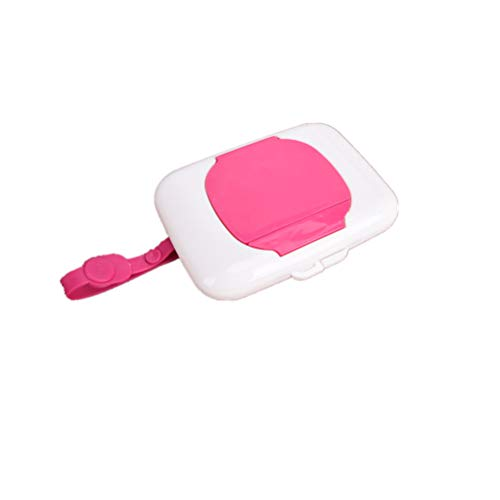 Welecom Baby Wipes Dispenser Box Travel Portable Wet Tissue Case Plastic Wet Wipes Carry Container Storage Holder(Pink)