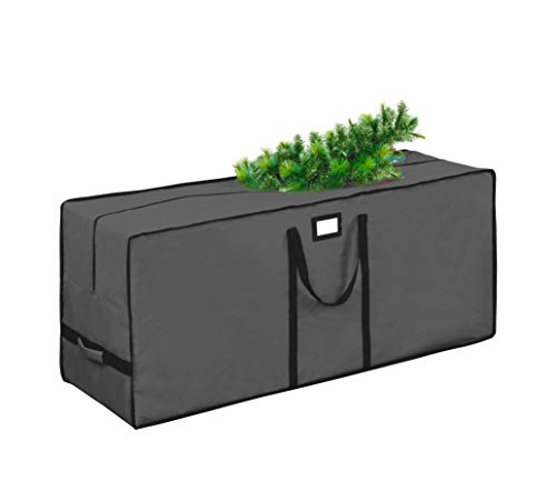 """Christmas Tree Storage Bag, Waterproof Christmas Tree Storage, Fits Up to 9 ft Tall Artificial Disassembled Trees, Extra Large Heavy Duty Storage Container with Handles (Grey, 65""""x15""""x30"""")"""