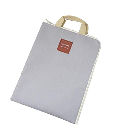 Portable A4 Size File Folders Multi-Purpose Laptop Bag Layered Canvas Briefcase with Zipper 1pc Grey Office Stationery