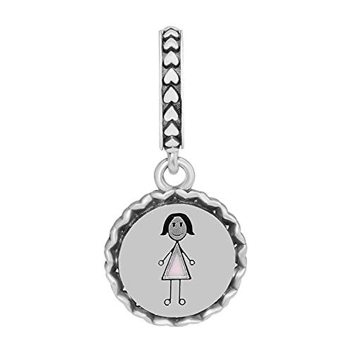 LISHOU Joyería De Plata Esterlina 925 para Mujer Abalorios con Figura De Palo para Mamá Se Ajustan A Pulseras Pandora Europeas Collares Fabricación De Joyas DIY