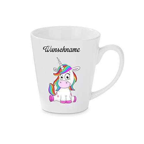 Crealuxe Konische Kaffeetasse, mit Wunschname Einhorn (Wunschname) - Kaffeebecher, Becher mit Motiv, Bedruckte Latte oder Cappuccinotasse, auch indualisierbar.