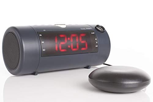 The Sonic Blast - Super Loud Projection Alarm Clock with Bluetooth Speaker & Sonic Bomb Super Shaker (Black)