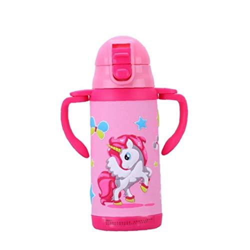Snner 360ml Botella Unicornio para Niñas Acero Inoxidable Termo con Silicona Paja Eco Friendly...