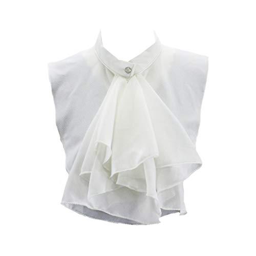 haia7k4k Kobiety pałacowe falbanki pół koszula bluzka szyfon sztuczny kołnierz