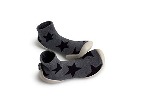 Collegien Nununu Hausschuhe Socken grau mit schwarzem Stern Gr. 30/31