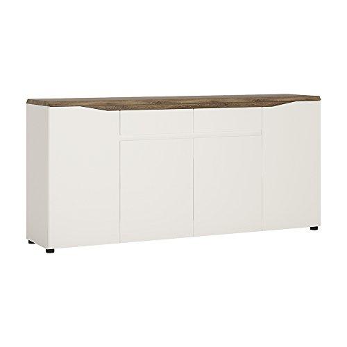 Möbel to go 4-türer 2Schubladen Sideboard, Holz, alpinweiß mit Hochglanz Fronten/Stirling Oak