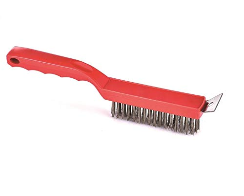 Commercial Heavy Duty Pizza Oven barbecue Grill Brush With Steel Scraper BBQ Grill Cleaner Red