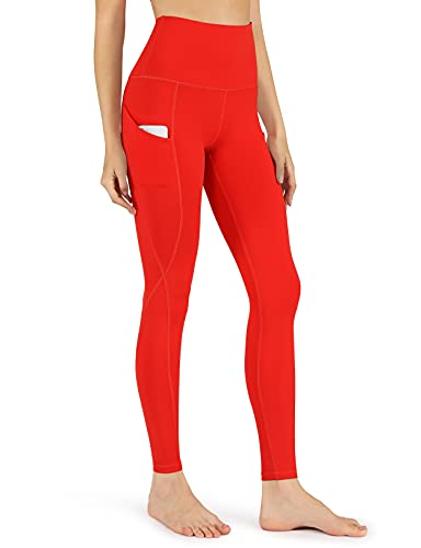 ODODOS Women's High Waisted Yoga Pants with Pockets,Tummy Control Non See Through Workout Sports Running Leggings, Full-Length,Red,Small
