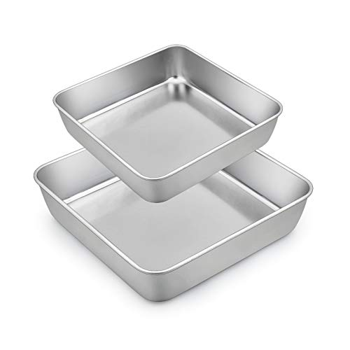 TeamFar Square Cake Pan, Stainless Steel 6 & 8 Inch Square Baking Pan for Cake Brownie Lasagna, Non-Toxic & Heavy Duty, One Piece Mold & Smooth, Dishwasher Safe - Set of 2