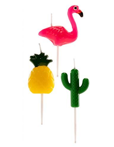 dekora 345336 Candele Tropicali Ananas di Flamenco e Cactus per decorazione, Multicolore, 6 pezzi