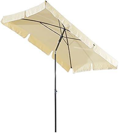 Outsunny Ombrellone Parasole Rettangolare con Palo Inclinabile Giardino e Spiaggia Poliestere 200 × 125 × 235cm Crema
