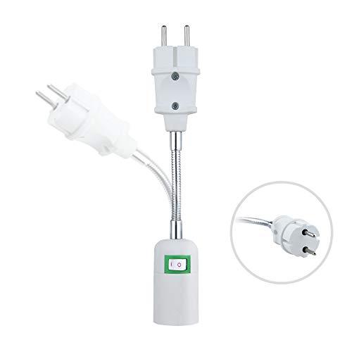 Adaptador de Casquillo E27 con Interruptor Convertidor Universal de EU Enchufe Bombilla Portalámparas E27 Alimentación Cuello Flexible sostenedor de zócalo 360° dirección Ajustable a bombillas E27 LED
