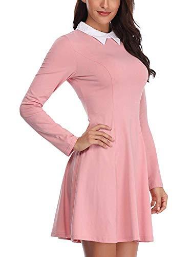 Oscilación Vestido corto de traje vestido largo de la manga HLYDamen de Halloween Halloween vestido de Peter Pan collar de color rosa vestidos de las mujeres con 3 colores,Rosado,XL