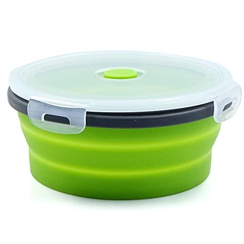 Cajas de almacenamiento plegables para alimentos, recipiente para el almuerzo, cuenco plegable con tapa para camping, cuenco de cocina en casa, 800 ml, redondo, color gris y verde, 1 pieza