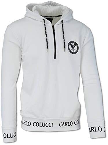Carlo Colucci Basic - Sudadera con capucha y cremallera, color blanco