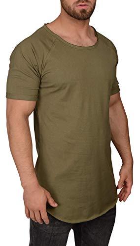 QULAXITY XVI Herren T-Shirt Oversize Long-Shirt (M, Burnt Olive)