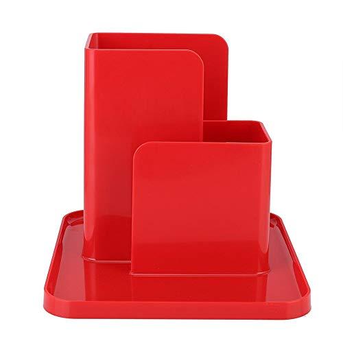 Remote Control Holder, Desk Caddy Organizer for Desktop, 6.1x5.9x5.4in(Red)