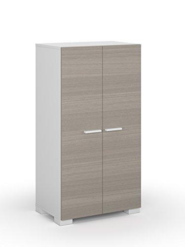 Habitdesign 0B7816O - Mueble Armario Zapatero, Color Blanco y Fresno, Medidas: 55x108x36...