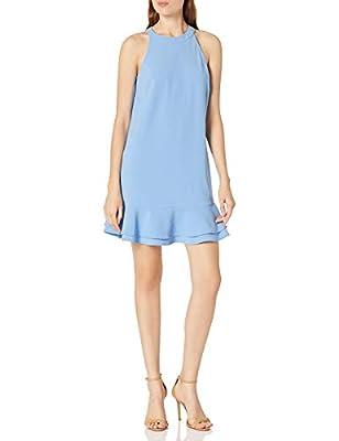 Mud Pie Women's Lindsey Flounce Dress in Periwinkle Blue Apparel (Small)