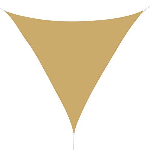 HOMCOM Outsunny Toldo Vela Color Arena sombrilla Parasol triangulo Tela de Poliéster Jardin Playa Camping Sombra Medidas, Medida 5x5x5 Metros, Color Arena