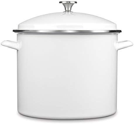 Cuisinart Enamel Stockpot with Cover Manufacturer OFFicial cheap shop White 16-Quart