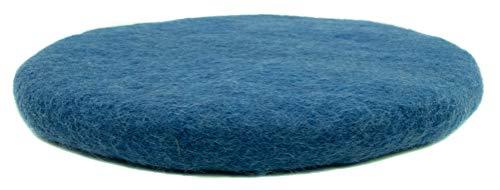 feelz Sitzkissen rund Filz Verschiedene blau-töne 100% Wolle 35 cm Höhe 2-3 cm Handarbeit (Persisch Blau)