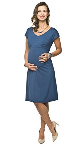Torelle Damen 2in1 Umstandskleid mit Stillfunktion, Modell: MOLITA Mum (Nubia), Kurzarm, indygo, XL