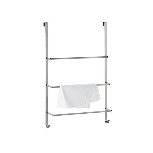 axentia Handtuchhalter für die Tür, Türgarderobe mit drei Stangen, Handtuchhaken zum Hängen, leichte Montage, ca. 45 x 10,5 x 69 cm, verchromt