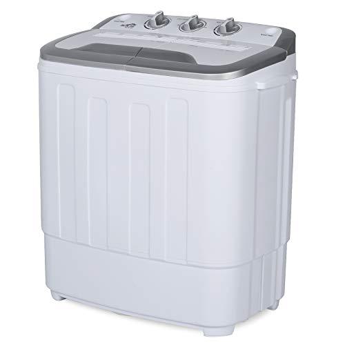 RUNSE 13.5lbs Mini Washing Machine - Super Deal Portable Compact Mini Twin Tub Washing Machine Built-in Drain Pump/Semi-Automatic (White&Grey)