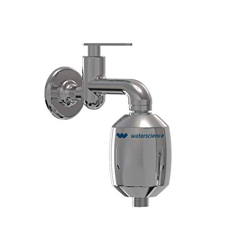 WaterScience Shower & Tap Filter for Hard Water and Chlorine Protection - CLEO SFU 1020 - for Borewell/Tanker Water (Chrome Finish)