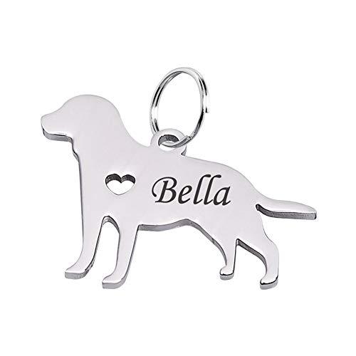 Etiqueta de identificación de perro Tornado personalizada, con silueta de perro salchicha y placa conmemorativa de acero inoxidable grabada a medida con nombre y número en caja de regalo