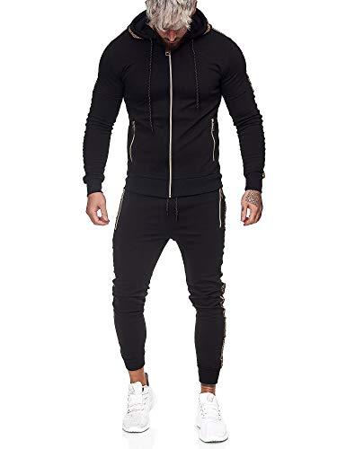 Code47 | Herren Trainingsanzug | Jogginganzug | Sportanzug | Jogging Anzug | Hoodie-Sporthose | Jogging-Anzug | Trainings-Anzug | Jogging-Hose | Modell JG-1424 Schwarz S