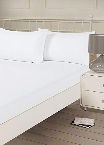 Brentfords Sábana Bajera Ajustable Lisa de Microfibra Suave Superking Size, Color Blanco, Super King