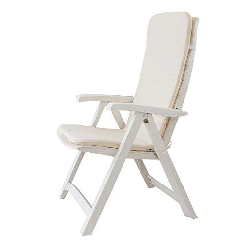 Cuscino Copri Sedia Sdraio da Giardino 45x120 cm Unito MOD. Relax P520 Panna