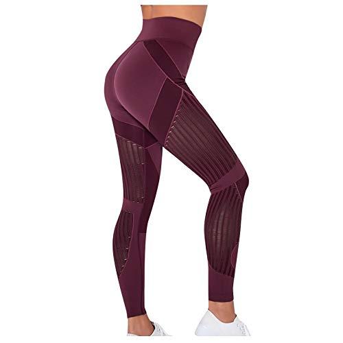 Leggings de deporte para mujer, para yoga, fitness, fitness, fitness, fitness, fitness, yoga, etc. rojo L