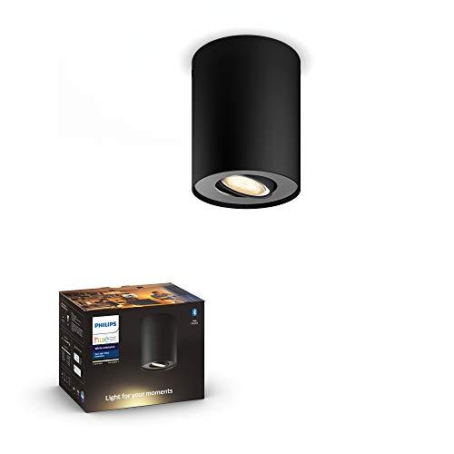 Philips Hue White Amb. LED 1-er Spotleuchte Pillar, schwarz, dimmbar, alle Weißschattierungen, steuerbar via App, kompatibel mit Amazon Alexa (Echo, Echo Dot)