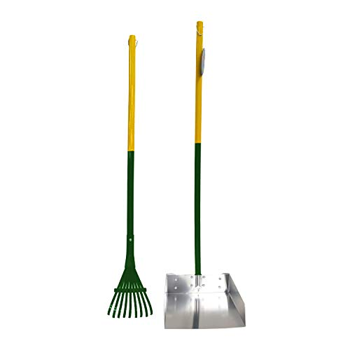 Four Paws Dog Rake & Scooper Set for Pet Waste Pick-Up, Large, Green &...