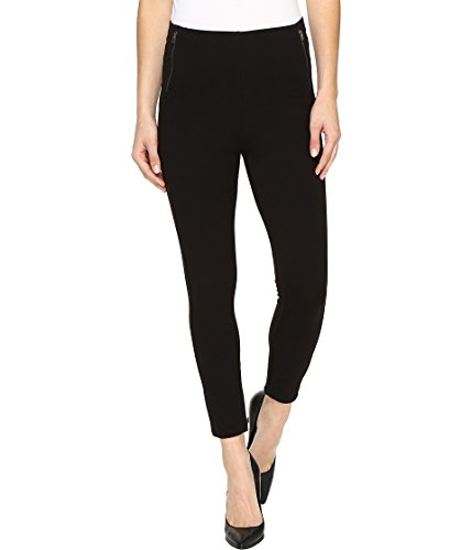 HUE Women's Temp Control Ultra Skimmer Leggings with Wide Waistband, Zippered/Black, XS