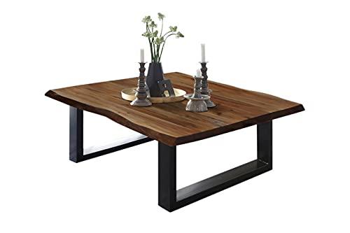 SAM Couchtisch 100 x 70 cm Billy, echte Baumkante, Akazienholz nussbaumfarben, massiver Sofatisch, U-Metallgestell Mattschwarz