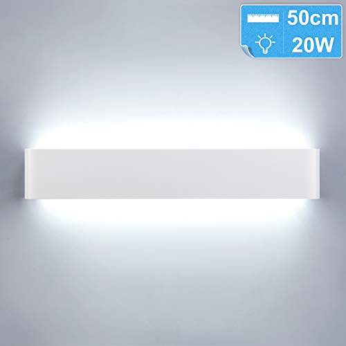 Lightess 20W 50CM Apliques de Pared LED Lámpara de Pared Interior Luz Moderna Agradable Luz de Aluminio Iluminación para Salón, Dormitorio, Sala, Pasillo, Escalera, Blanco, 6000K Blanco Frío