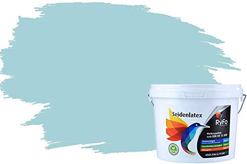 RyFo Colors Seidenlatex Trend Blautöne Gletscherblau 3l - bunte Innenfarbe, weitere Blau Farbtöne und Größen erhältlich, Deckkraft Klasse 1