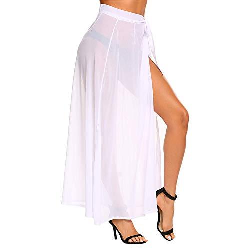 XPuing Falda de Vendaje de Mujer Chiffon Beach Vestido Largo Sexy de Verano con Abertura en la Playa (Blanco)