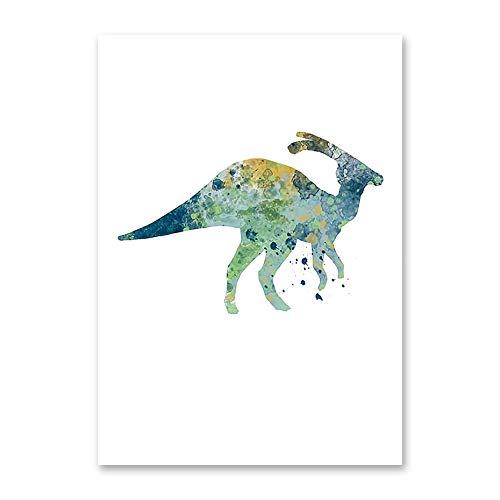 Pepkgk Acuarela Animal de Dibujos Animados Dinosaurio 5D Diamante Pintura Juego Completo de Bricolaje Hecho a Mano Bordado de Diamantes de imitación Punto de Cruz o Sala de Esta(Cuadrado 50x60cm)