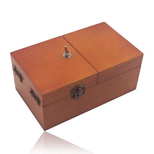 Maijia Nutzlose Schachtel aus Holz Macht Sich selbst aus Nutzlose Schachtel Lassen Sie Mich allein Maschinenkiste mit Echtholz Schreibtischdekoration für Weihnachten Neujahrsgeschenke (Brown-No Logo)