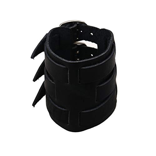 LSJO Brazalete De Cuero Ancho Personalizado para Hebilla De Cinturón Estilo Surf Unisex Negro