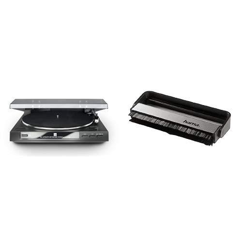 Dual DT 210 USB Schallplattenspieler (USB-Anschluss, 33/45 U/min) schwarz & Hama Carbon-Faserbürste für Langspielplatten (antistatisch Schallplatten reinigen, Vinylbürste), schwarz/silber