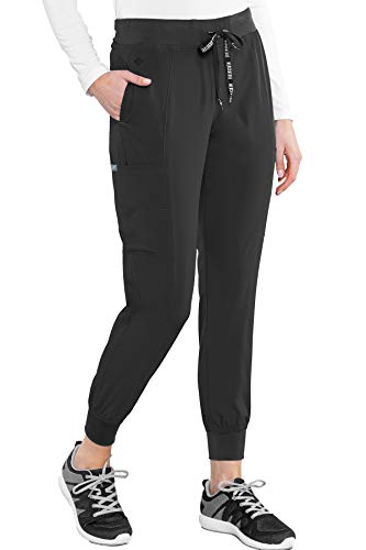Med Couture Peaches Women s Seamed Jogger Pant, Black, Medium