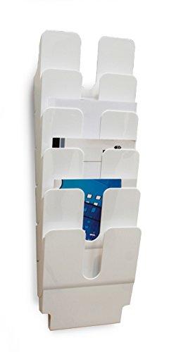 Durable Espositore da Parete Flexiplus 6, Porta Documenti Depliant A4 da Muro 6 Scomparti, Portadocumenti Verticale Ufficio, 24.7 x 10 x 108 cm, Bianco