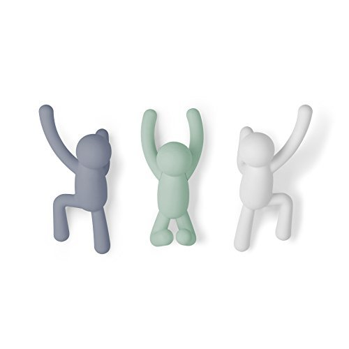 Umbra Buddy Hook Appendino, Verde/Bianco/Grigio, Taglia Unica Pack de 3